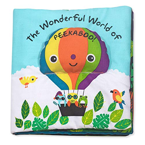 Melissa & Doug Soft Activity Book – The Wonderful World of Peekaboo (Developmental Toys, Interactive Cloth Lift-the-Flap Baby Book, 5 Animals, Machine Washable)