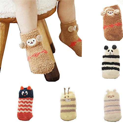 5 Pairs Baby Girls Boys Fuzzy Crew Socks,Animal Thick Warm Anti Slip Socks for Toddler 1-3 Years A-Pack
