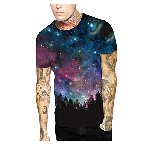 Elakaka Blue sky Digital Printing Men 's T - shirt(Size,L) (Watch Field Ultimate)