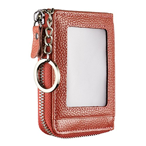 Genuine Leather Zipper Credit Card Wallet with ID Window Keychain RFID Blocking (Brown)