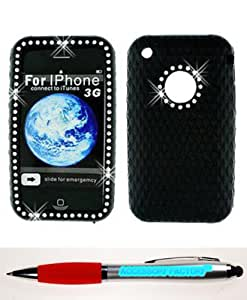 Accessory Factory(TM) Bundle (the item, 2in1 Stylus Point Pen) Iphone 3G Diamond Silicon Skin Black Case Cover Protector Stylish Full Bling Design Snap On Hard Faceplate Shell