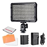 Pergear PT-176S 176 Led Video Light Panel Ultra-Compact High Power Dimmable Camera Camcorder Video Light with 6600mAh Rechargeable Battery and Charger