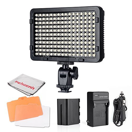 Pergear PT-176S 176 Led Video Light Panel Ultra-Compact High Power Dimmable Camera Camcorder Video Light with 6600mAh Rechargeable Battery and Charger by PERGEAR