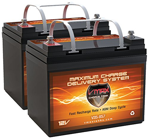 Qty2 Vmax857 Agm Deep Cycle Group U1 Battery Replacement For Abec Targa 18 Inches 12V 35Ah Wheelchair Battery