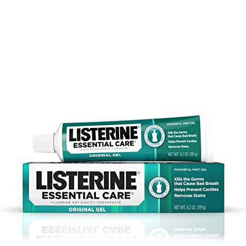 (Listerine Essential Care Original Gel Fluoride Toothpaste, Prevents Bad Breath and Cavities, Powerful Mint Flavor for Fresh Oral Care, 4.2 oz)