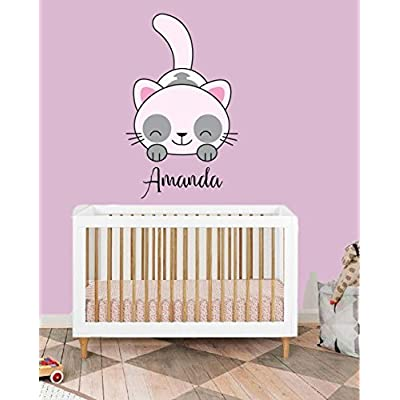 Custom Name Cute Cat - Animal Series - Baby Girl - Nursery Wall Decal For Baby Room Decorations - Mural Wall Decal Sticker For Home Children's Bedroom (J111) (Wide 15