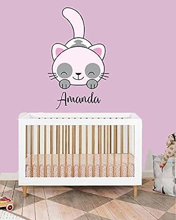 Amazon.com: Custom Name Cute Cat - Animal Series - Baby Girl ...