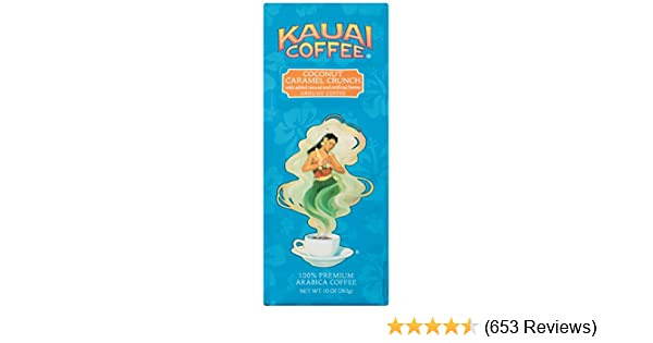 100% Kauai Ground Coffee, Coconut Caramel Crunch-100% Premium Arabica Coffee from Hawaii's Largest Coffee Grower-Tropical Coconut and Sweet Nutty Caramel Flavors with Medium-Roasted Beans (10 Ounces)