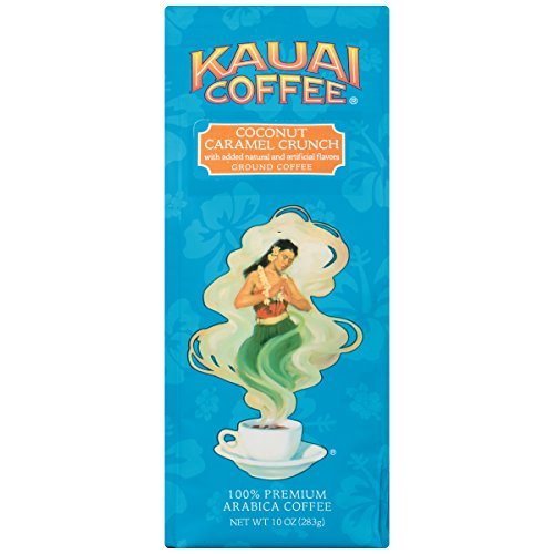 Kauai Ground Coffee, Coconut Caramel Crunch100% Premium Arabica Coffee from Hawaiis Largest Coffee Grower-Tropical Coconut and Sweet Nutty Caramel Flavors with Medium-Roasted Beans (10 Ounces)