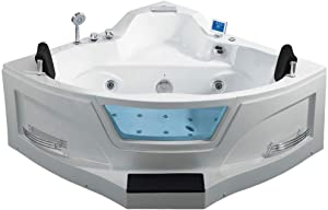 """ARIEL ARL-084 Whirlpool Bathtub with Water and Air Bubble Jets   2 Person   Heat Pump   Blue Tooth   61"""" x 61"""" x 28.74"""""""