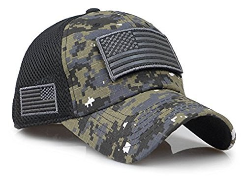 fe886852018 Camouflage Constructed Trucker Special Tactical Operator Forces USA Flag  Patch Baseball Cap (Digital Black)