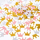 MOWO Glitter Crown Confetti Table Decor and Party Wedding Event Decor, Gold Glitter,Pink,White, 200 Count