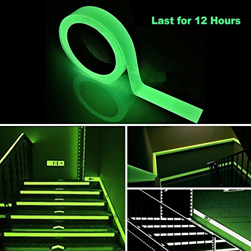 Picopaco Glow in the Dark Duct Tape Fluorescent Bright 12 Hours Green Glow Waterproof Non-slip Safety Stickers 32.8 ft ×0.5 in (Fluorescence 1) (Costumes Made With Duct Tape)