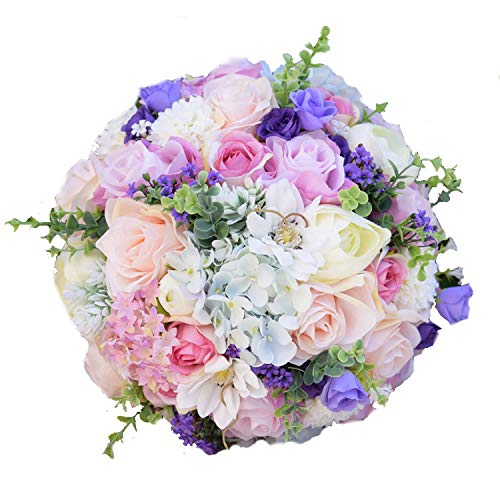 Bridal Wedding Bouquet, Silk Wedding Flowers Garden Bouquet Home Decor Flowers Bridesmaid Bouquets Roses Hydrangea Bridal Bouquet,Size L 3Pcs Set