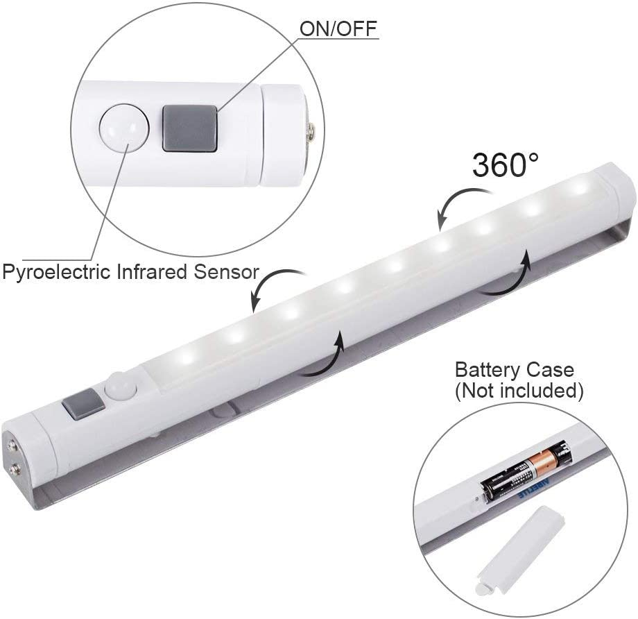 LED Battery-Powered Wireless Night Light Stick Tap Touch Lamp Stick-on Push Light for Closets Counters or Utility Rooms,Cordless Touch Light,5 Pack Batteris Not Included Cabinets 5 Pack