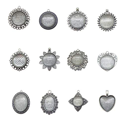 Julie Wang 12 Sets Mixed Silver Oval Round Setting Tray Pendant with Glass Cabochons for Jewelry Making (Style 53489)
