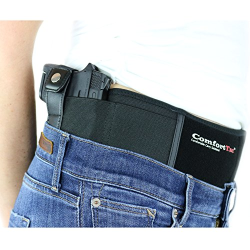 ComfortTac Ultimate Belly Band Holster 2.0 | New 2017 | Fits Glock 19 43 26 Smith and Wesson MP Shield Bodyguard Ruger LC9 Sig Sauer More | Carry IWB OWB Appendix (L (Belly: Up to 42