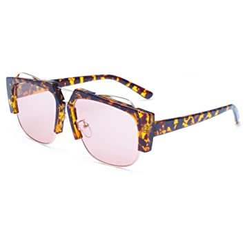 Yiwa Fashion UV400Luxus Sonnenbrille Fashion Vintage Style Eyewear, Black Frame Tea And Blue Lens