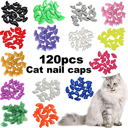 - VICTHY 120pcs Cat Nail Caps, Colorful Pet Cat Soft Claws Nail Covers for Cat Claws with Adhesive and Applicators Medium