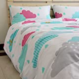 Norson Cartoon Clouds Pattern Bedding Sets, Children's Duvet Cover Set, Kids Bedding Girls, Constellation Bedding, Twin Full Size (Full)
