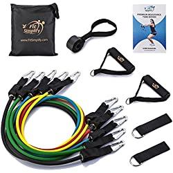 Fit Simplify Resistance Band Set 11 Pieces with Exercise Tube Bands, Door Anchor, Ankle Straps and Carry Bag - Bonus Instruction Booklet, Ebook and Online Workout Videos