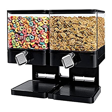 Dispensador de cereales doble / individual La máquina / depósito de alimentos secos contiene 19 onzas de alimentos (Dispensador doble blanco): Amazon.es: ...