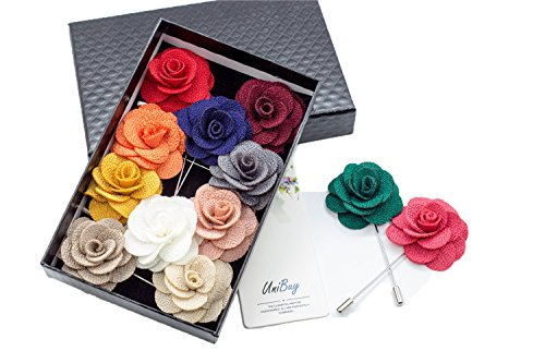 Unibuy Men's Lapel Pin Set with Handmade Flower Boutonniere For Suit (Gift Box Of 12)