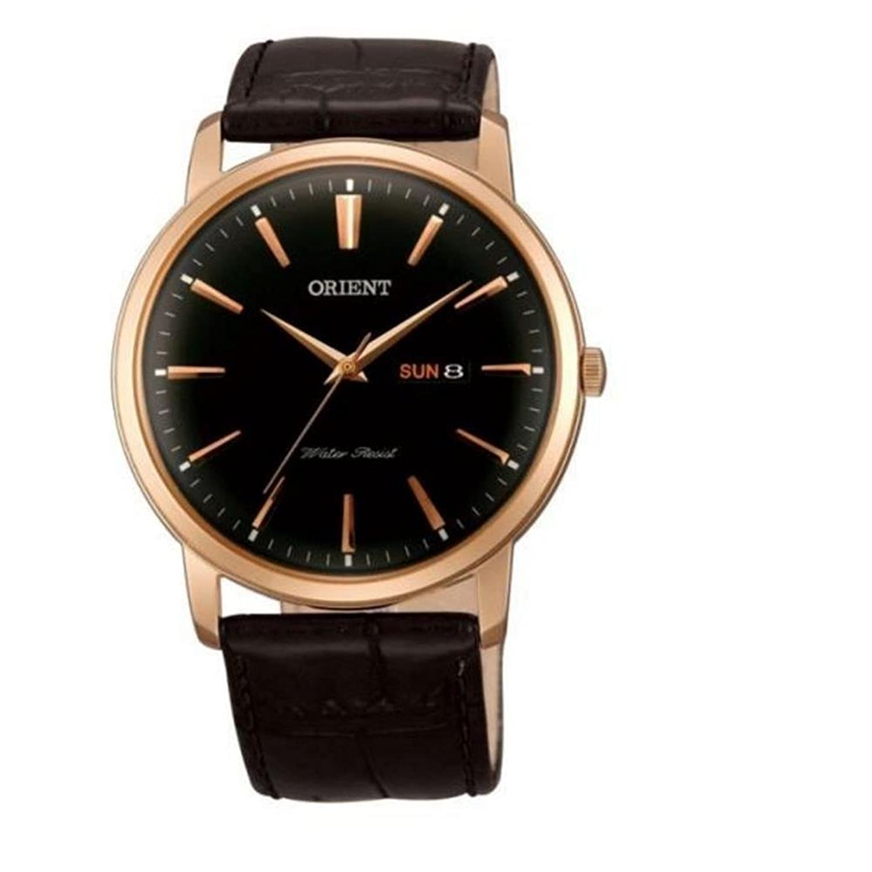 Orient Herren 43mm Schwarz Leder Armband Rotgold GehÄuse Datum Uhr FUG1R004B6