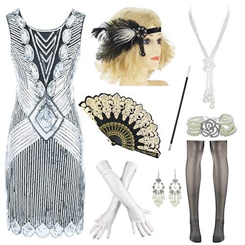 Plus Size Women's Flapper Dresses 1920s Beaded Fringed