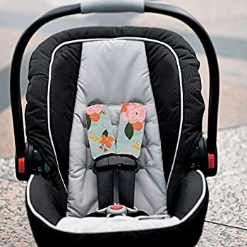 LedBack Universal Car Seat Belt Pads Cover 2pack Chic Blue Butterfly Flower Print Seatbelt Shoulder Strap Covers Harness Pad for Women Girl Baby