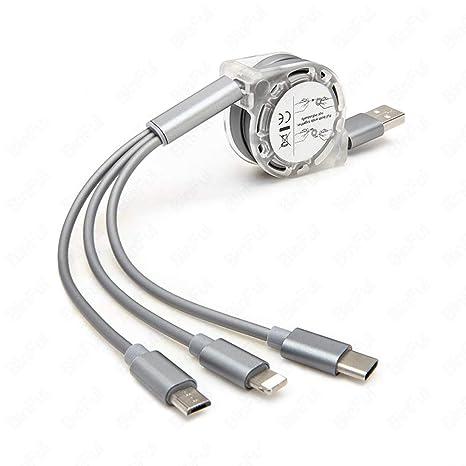 Cikuso 3 En 1 Cable De Cargador Múltiple Type C Micro-USB ...