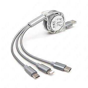 TOOGOO 3 en 1 Cable Cargador Multi-USB Tipo C Retráctil para ...