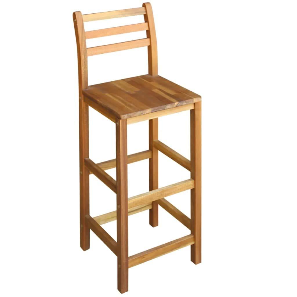 vidaXL Table et Chaises de Bar 3 pcs Bois dAcacia Massif Mobilier de Bar