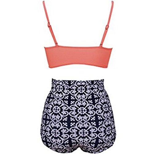 FY Frauen Vintage Lotus Blatt Drucken Mit Hoher Taille Push Up Badeanzug Bikini Set