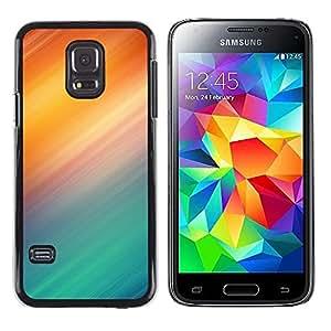 TopCaseStore / la caja del caucho duro de la cubierta de protección de la piel - Lines Aurora Borealis Northern Lights Teal - Samsung Galaxy S5 Mini, SM-G800, NOT S5 REGULAR!