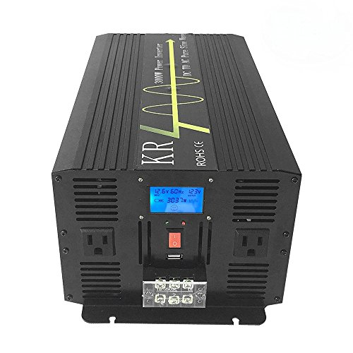 KRXNY 3000W Home Use Solar Inverter 12V DC to 120V AC 60HZ Pure Sine Wave Power Converter with LCD Display by KRXNY