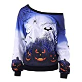 Women Slouchy Shirts Halloween Pumpkin Long Sleeve Sweatshirts Pullover (2XL, Blue)