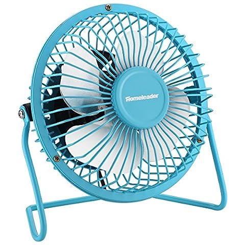 Homeleader Mini Personal Fan, Portable Metal USB Mini Table Fan with Upgraded 4 Inch Blades, Blue - Blue Little Fan