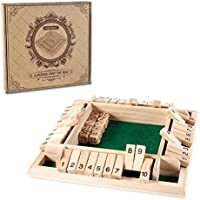AMEROUS 1-4 Players Shut The Box Dice Game,Classic 4 Sided Wooden Board Game with 10 Dice and Shut-The-Box Instructions...