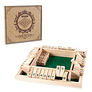 AMEROUS 1-4 Players Shut The Box Dice Game,Classic 4 Sided Wooden Board Game with 10 Dice and Shut-The-Box Instructions for Kids Adults, Classics Tabletop Version and Pub Board Game