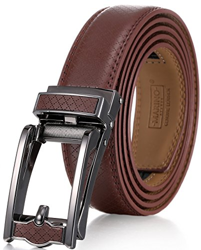 "Marino Men's Genuine Leather Ratchet Dress Belt with Open Linxx Leather Buckle, Enclosed in an Elegant Gift Box - Brown - Style 140 - Custom XL: Up to 54"" Waist"
