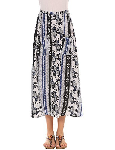 Women's African Print Long Maxi Skirt w Drawstring Waist , Blue , (Drawstring Print Skirt)