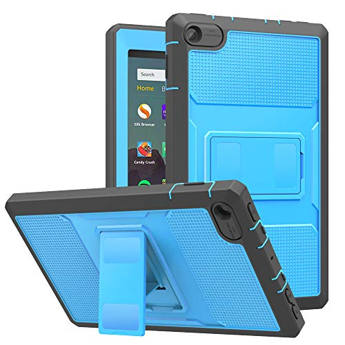 MoKo Case Fits All-New Amazon Fire 7 Tablet (9th Generation, 2019 Release), Dual-Layer Shell Full Body Rugged TPU + PC Stand Back Cover Built-in Screen Protector - Blue & Dark Gray (Best Cheap Pc Cases 2019)
