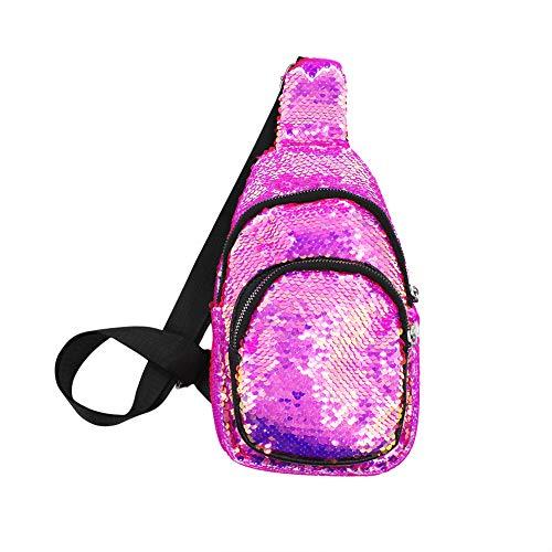 Sequin Sling Bag Chest Pack Crossbody Bags for Women Adjustable Daypacks