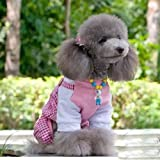 Cute Dog's Plaid Double Leg Pants Red Rose Colored Shirt 100% cotton-Size X-Small