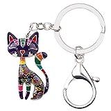 Bonsny Enamel Alloy Chain Cat Key Chains For Women Car Purse Handbag Charms (Purple)