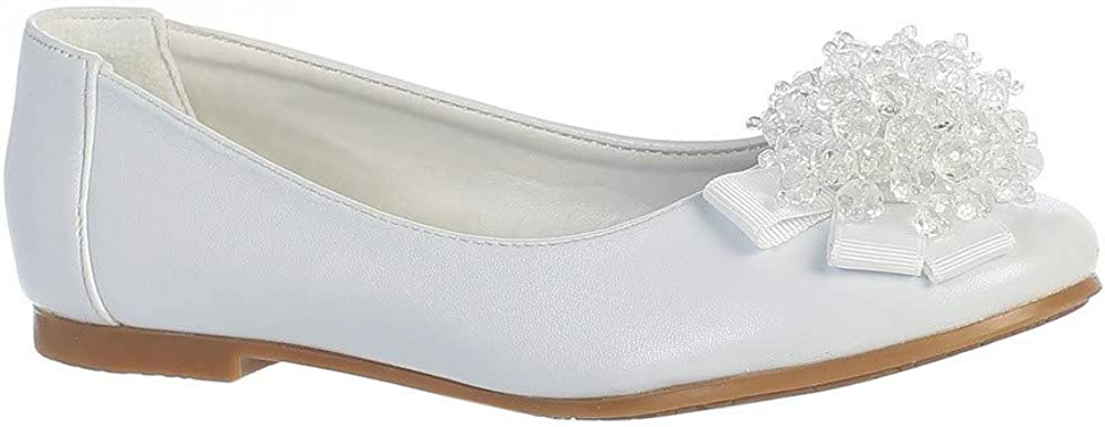 Lito Girls White Crystal Bead Bow Anna Special Occasion Dress Shoes 5-10 Toddler