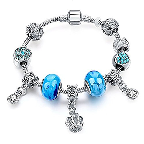 Young & Forever Women's Allure Princess Crown All Time Fav Sterling Charming Charm Bracelet by Young & Forever