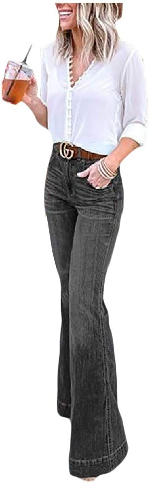 Nicellyer Womens High Waist Loose Bell Bottom Pants Casual Denim Jeans