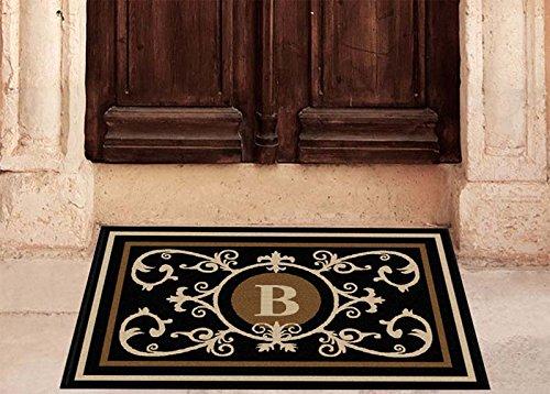 The Personalized Doormats Company Edinburgh Estate Doormat - Monogrammed Black & Suede B 2 x 3 ()